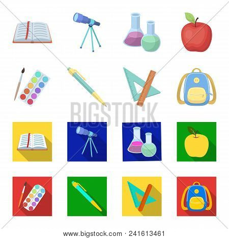 Multicolored Paints With A Tassel, Pen, Triangle And Ruler, Satchel, Briefcase. School And Education