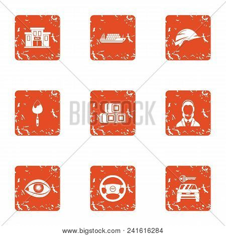 Municipal Economy Icons Set. Grunge Set Of 9 Municipal Economy Vector Icons For Web Isolated On Whit