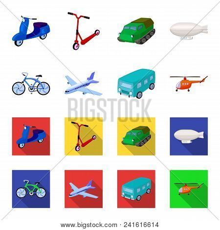 Bicycle, Airplane, Bus, Helicopter Types Of Transport. Transport Set Collection Icons In Cartoon, Fl