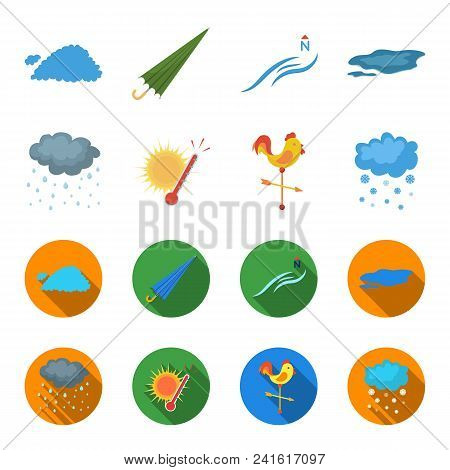 Rain, Snow, Heat, Weathervane. The Weather Set Collection Icons In Cartoon, Flat Style Vector Symbol