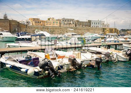 Otranto, Italy - 6.05.2018: View Of The Port Of Otranto In Sunny Day, Italy