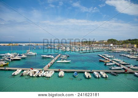 Otranto, Italy - 6.05.2018: View Of Port Of Otranto From Aragonese Castle, Province Of Lecce In The