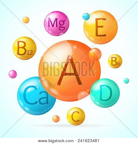 Realistic Detailed 3d Falling Vitamin And Mineral Background Card Concept Healthy Nutrition Or Diet.