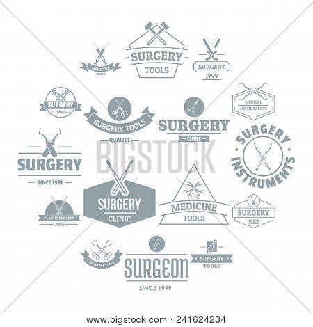 Surgery Tools Logo Icons Set. Simple Illustration Of 16 Surgery Tools Logo Vector Icons For Web