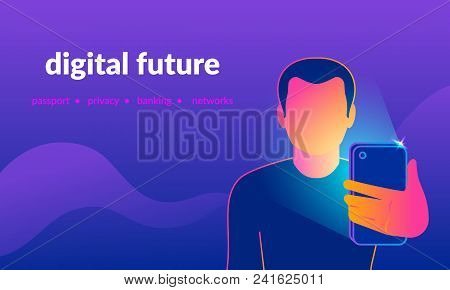Face Identification Of Young Man By Mobile Phone Front Camera Shoot. Gradient Line Vector Illustrati
