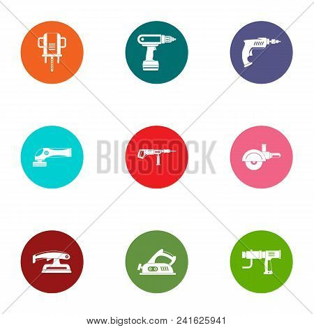 Operating Tool Icons Set. Flat Set Of 9 Operating Tool Vector Icons For Web Isolated On White Backgr