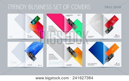 Abstract brochure in modern design style, modern catalog, double-page flyer in A4 with colourful rectangles for branding. Business vector spread cover. poster