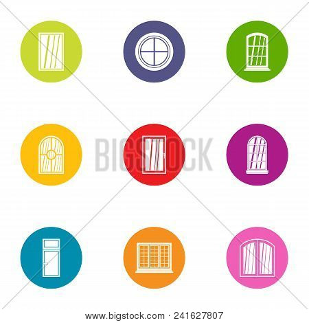 Painted Window Icons Set. Flat Set Of 9 Painted Window Vector Icons For Web Isolated On White Backgr