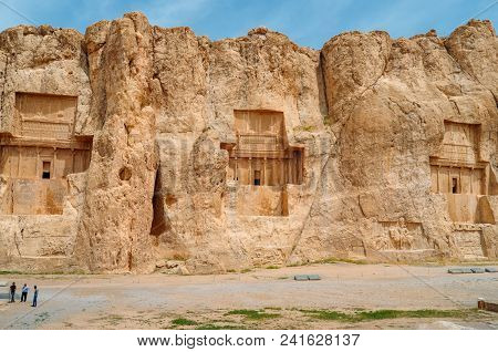 Persepolis, Iran - April 28, 2018: The Ancient Tombs Of Achaemenid Dynasty Kings Of Persia Are Carve