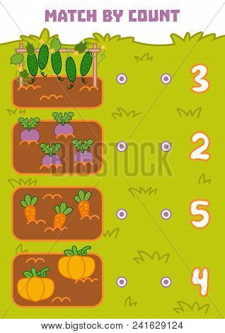 Counting Game For Preschool Children. Educational A Mathematical Game. Count Vegetables In The Pictu