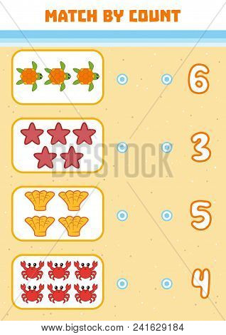 Counting Game For Preschool Children. Educational A Mathematical Game. Count Sea Animals In The Pict