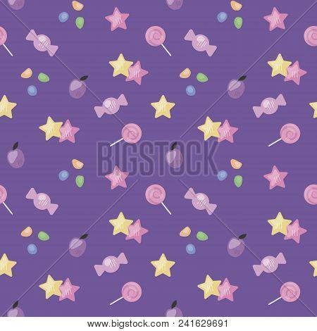 Dark Purple Bright Seamless Pattern Candy Pink Dessert Children Cute Stars Plum Jelly Candy Candy Ba