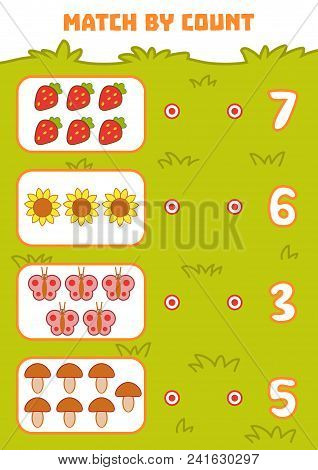 Counting Game For Preschool Children. Educational A Mathematical Game. Count Objects In The Picture