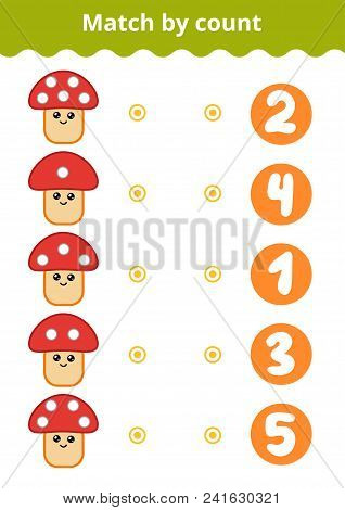 Counting Game For Preschool Children. Educational A Mathematical Game. Count The Points On The Mushr