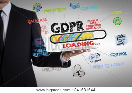 Gdpr. General Data Protection Regulation Concept. Man Holding A Tablet Computer