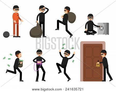 Criminal Illustrations Of Theif Characters In Different Action Poses. Burglar Male, Cartoon Running