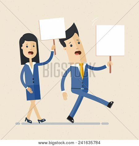Peaceful Man, Woman Holding Banners And Placards. People At Demonstration, Picket. Vector Isolated C