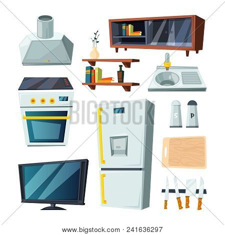 Furniture For Kitchen And Living Room. Vector Stove And Sink, Fridge Equipment And Exhaust Illustrat