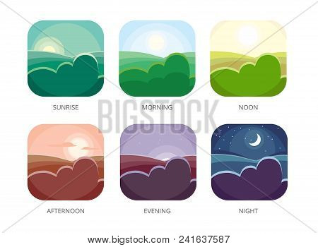 Visualization Of Various Times Of Day. Morning, Noon And Night. Flat Style Vector Illustrations. Sun