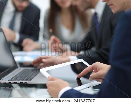 close up.businessman using digital tablet