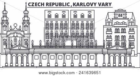 Czech Republic, Karlovy Vary Line Skyline Vector Illustration. Czech Republic, Karlovy Vary Linear C