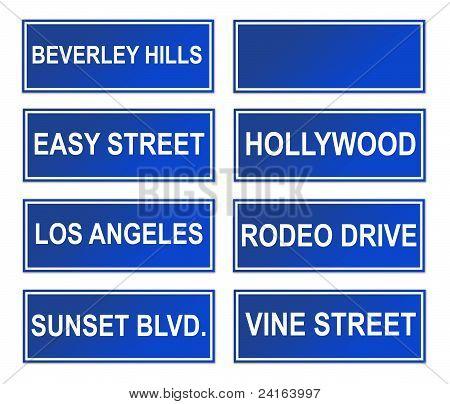 Set Of Los Angeles Street Signs