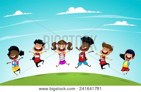 Back To School Cute School Kids Going Back To School. Cartoon Vector Illustration