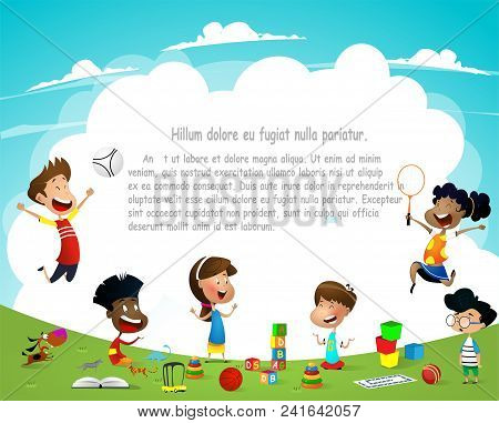 Children Playing Outdoors On Summer Background. Template For Advertising Brochure. Ready For Your Me