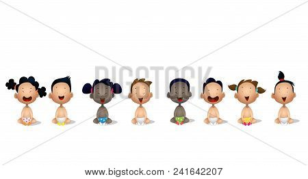 Multiracial Babies. Interracial Group Of Babies And Toddlers. Vector Cartoon Illustration