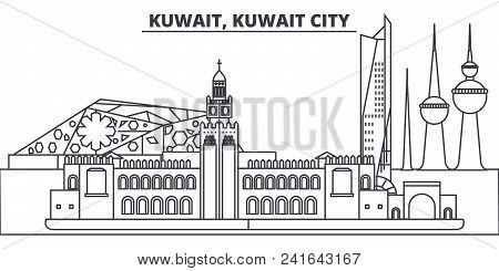 Kuwait, Kuwait City Line Skyline Vector Illustration. Kuwait, Kuwait City Linear Cityscape With Famo