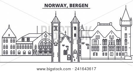 Norway, Bergen Line Skyline Vector Illustration. Norway, Bergen Linear Cityscape With Famous Landmar