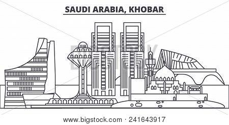 Saudi Arabia, Khobar Line Skyline Vector Illustration. Saudi Arabia, Khobar Linear Cityscape With Fa