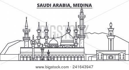 Saudi Arabia, Medina Line Skyline Vector Illustration. Saudi Arabia, Medina Linear Cityscape With Fa