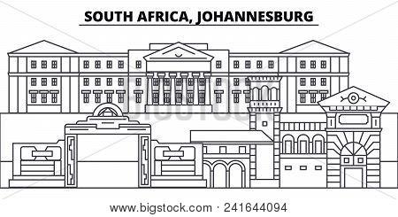 South Africa, Johannesburg Line Skyline Vector Illustration. South Africa, Johannesburg Linear Citys