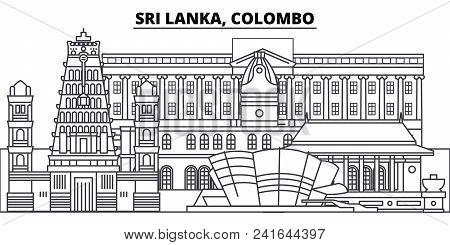 Sri Lanka, Colombo Line Skyline Vector Illustration. Sri Lanka, Colombo Linear Cityscape With Famous