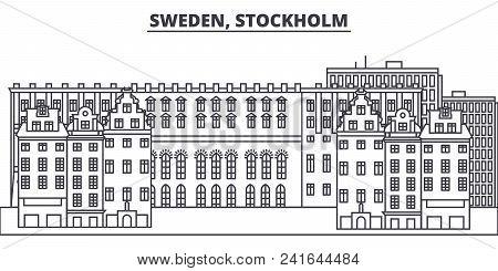 Sweden, Stockholm Line Skyline Vector Illustration. Sweden, Stockholm Linear Cityscape With Famous L