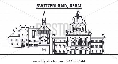 Switzerland, Bern Line Skyline Vector Illustration. Switzerland, Bern Linear Cityscape With Famous L