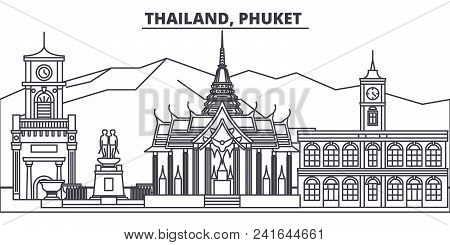 Thailand, Phuket Line Skyline Vector Illustration. Thailand, Phuket Linear Cityscape With Famous Lan