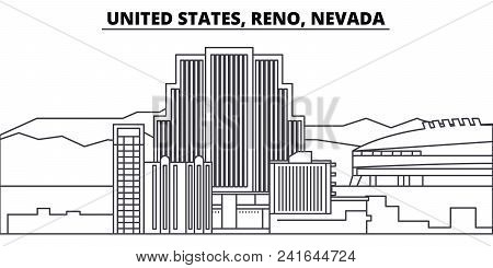 United States, Reno, Nevada Line Skyline Vector Illustration. United States, Reno, Nevada Linear Cit