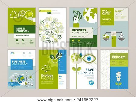 Set Of Brochure And Annual Report Cover Design Templates Of Nature, Green Technology, Renewable Ener