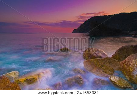 A Place In Time: Sunset Over The Ocean, Cinque Terre, Italy