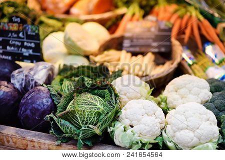 Fresh Bio Vegetables On Farmer Market In Strasbourg, France. Typical European Local Farmer Market