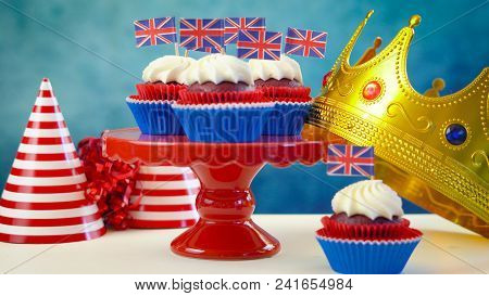 Red White And Blue Theme Cupcakes And Crown With Uk Union Jack Flags