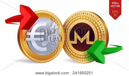 Monero To Euro Currency Exchange. Monero. Euro Coin. Cryptocurrency. Golden Coins With Monero And Eu