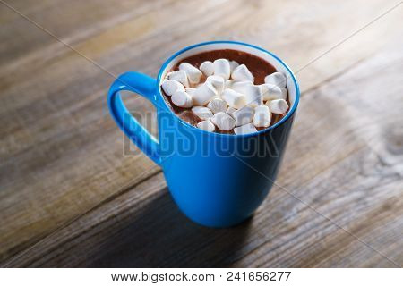 Cocoa With Marshmallow, Close Up. Warming Sweet Drink, Coziness, Home Taste, Autumn Delightful Bever