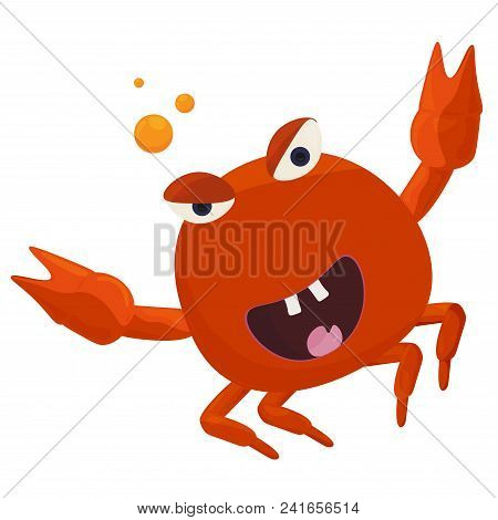 Vector Illustration For Crab Feast Or Fest. Funny Cute Crab Cartoon Mascot With Beer Bubbles.