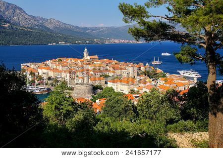View Of Korcula Old Town, Croatia. Korcula Is A Historic Fortified Town On The Protected East Coast