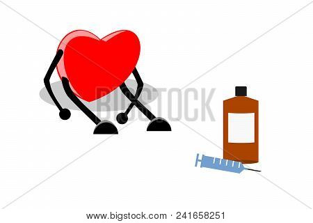 Weak, Tired, And Exhausted Heart Sitting With Medication (syringe And Liquid Drug), Vector Illustrat