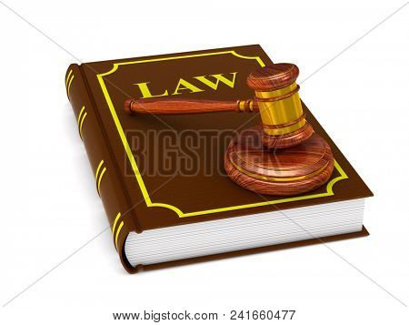 wooden gavel and book on white background. Isolated 3D illustration