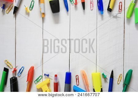 Stationary And Working Equipment Placed On A White Wooden Floor And Have Copy Space For Design In Yo